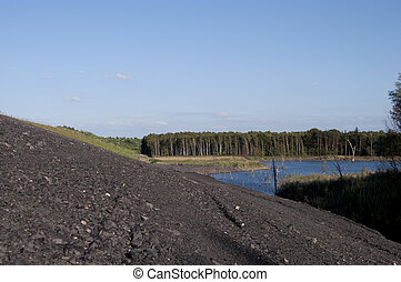 Coal miming waste pile and lake