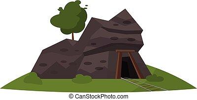 Coal mine entrance icon, cartoon style