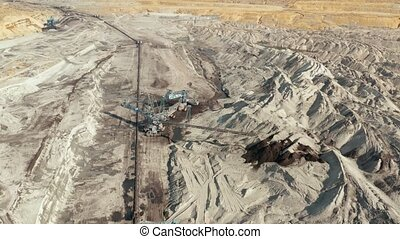 Coal Mine Excavation Drone Footage - Coal mine, open pit...