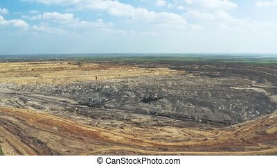 Coal Mine Excavation Drone Top Down View - Open pit mining...