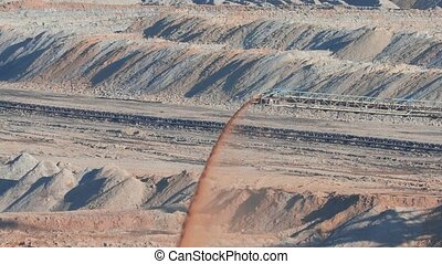 Coal Mine Excavation - Open pit mining of coal, waste...