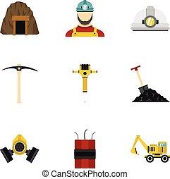 Coal mine icons set, flat style