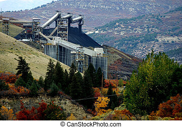 Coal Mine - Industrial landscape of working coal mine in...