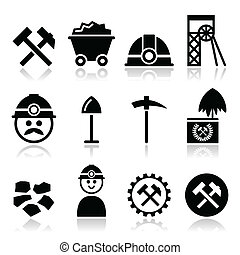Industry vector icons set - coal, mine isolated on white