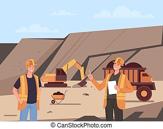 Coal mine production industry concept. Vector flat cartoon graphic design illustration