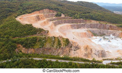 Coal mine quarry ground Aerial view - Drone of the coal mine...
