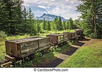 Coal mine train in the ghost town of Bankhead near Banff,...