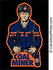 coal miner design with miner wearing coveralls and hard hat