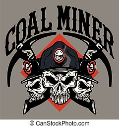 coal miner design with three skulls and crossed picks