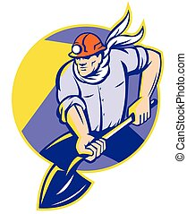 coal-miner-dig-shovel-front - Illustration of a coal miner...