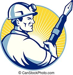 Coal Miner Fountain Pen Mascot - Mascot icon illustration of...