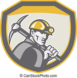 Coal Miner Hardhat Holding Pick Axe Shield Retro -...