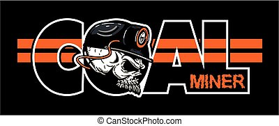 coal miner logo design with skull wearing hard hat and...