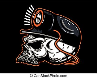 coal miner skull wearing hard hat and mining light