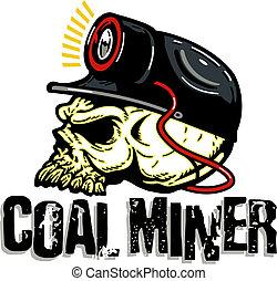 coal miner skull with miner's light on hard hat