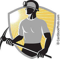 Illustration of a coal miner with pick ax viewed from the side done in retro style with shield in the background.