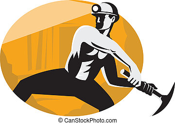 Illustration of a coal miner with pick ax viewed from the side striking done in retro style.