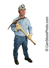 Coal Miner With Pickax 1 - A coal miner getting ready to ...
