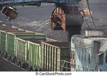 Coal mining. - Coal wagons on railway tracks.