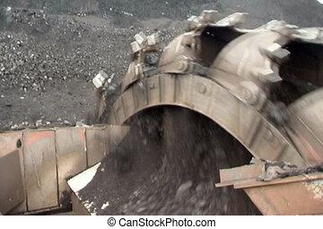 Coal mining. - Extraction of coal  digger.