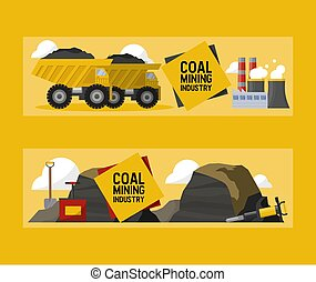 Coal mining industry and transportation vector illustration. Coalmine factory, rocks of coal, coalplough machine and trucks horizontal banners.