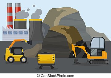 Coal mining industry facilities concept vector illustration. Mine, machine, equipment for coal extraction station field. Smoking chimney of factory plant.
