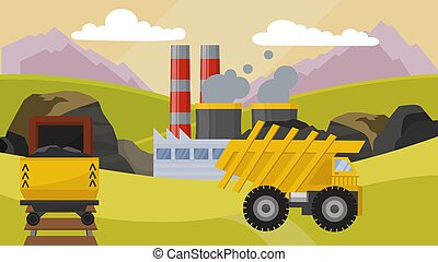 Coal mining industry facilities concept vector illustration. Mine machine equipment for coal extraction production station field. Smoking chimney of factory plant.
