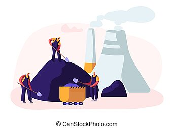 Coal Mining. Miner Characters Work on Quarry with Tools, Transport and Technique Loading Coal into Trolley on Factory Pipes and Smoke Background. Extraction Industry. Cartoon Flat Vector Illustration