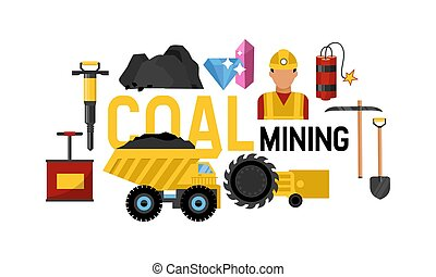 Coal mining operation of transportation on heavy truck vector illustration. In mining valley with coal rocks. Webpage or landing for coalmine industry.