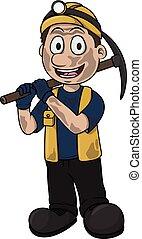 Coal mining worker vector cartoon illustration design