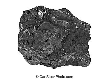 Coal on a white background, close up
