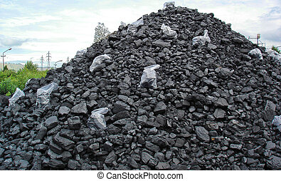 Stockpile of coal with samlples in plastic bags.