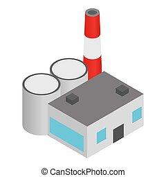 Coal plant icon. Isometric illustration of coal plant icon for web