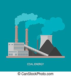 Coal power plant and factory. Energy industrial concept. Vector illustration in flat style. Electricity station background