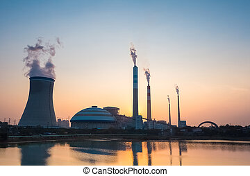 coal power plant in sunset