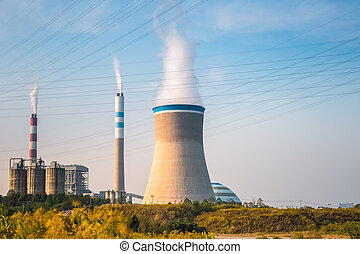 coal power plant in the afternoon