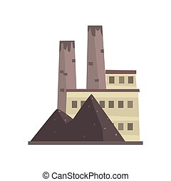 Coal power plant or factory, energy industrial building vector Illustration