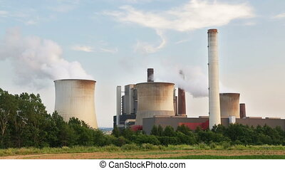 Coal Power Station And Trees