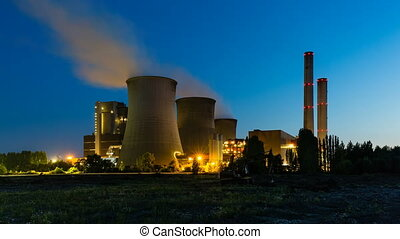 Coal Power Station At Night - Time lapse sequence of a large...