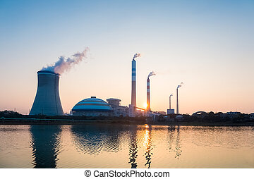 coal power station in sunset