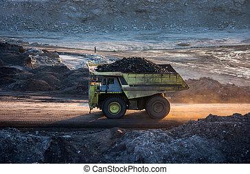 coal-preparation plant. Big mining truck at work site coal...