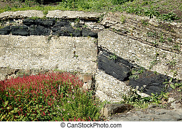 Coal Seam - Geological strata showing a coal seam,...