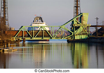Coal Ship at Rr Bridge