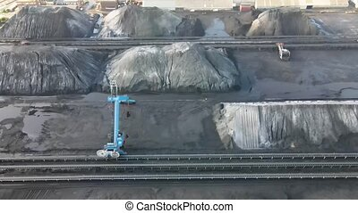 Coal storage place energy consumption piles of black coal ...
