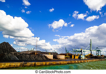 Coal stored in the port of Antwerp