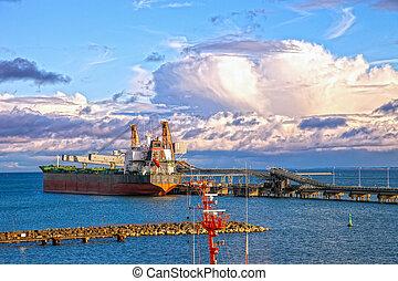Coal Terminal - Vessel under coal loading in port Gdansk, ...