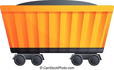 Coal train wagon icon, cartoon style