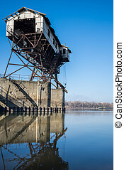 Coal transportation building on river Danube