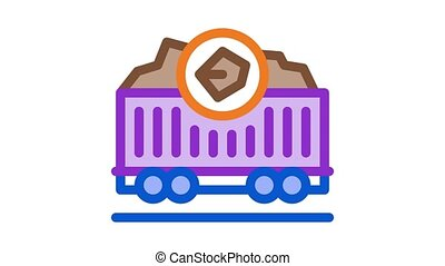 coal trolley Icon Animation. color coal trolley animated icon on white background