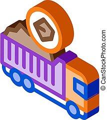 coal truck isometric icon vector illustration